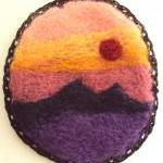 Felt brooch, sunset sky lan..