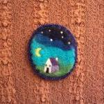 Felt brooch,blue night sky ..