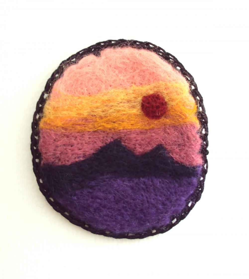 Felt brooch, sunset sky landscape pin, needle felted art badge, made to order.