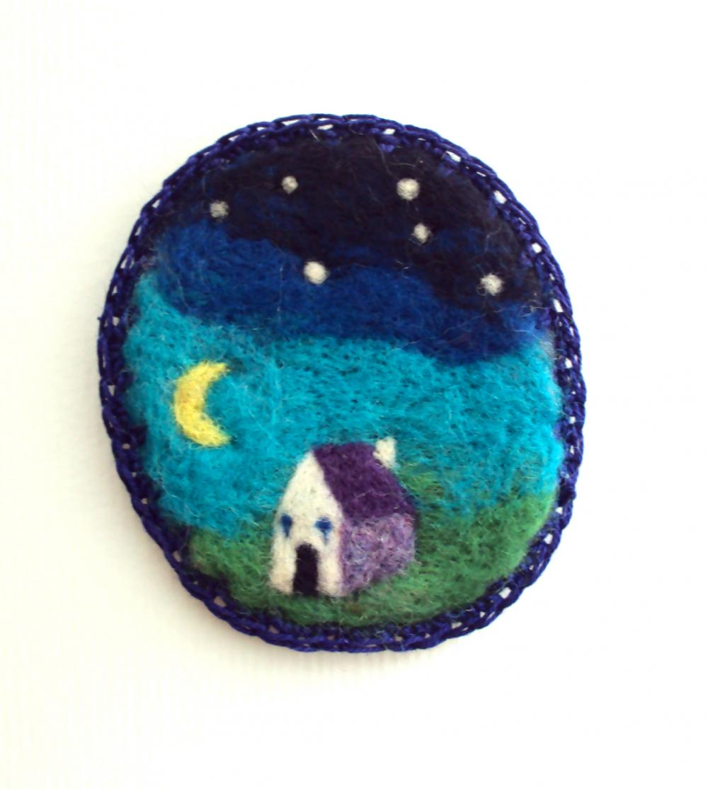 Felt brooch,blue night sky landscape pin, needle felted moon badge, made to order.
