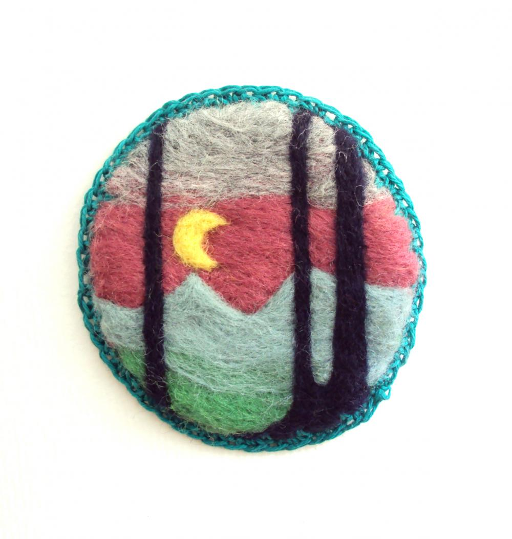 Felt brooch, mint green woodland pin, needle felted badge, made to order.