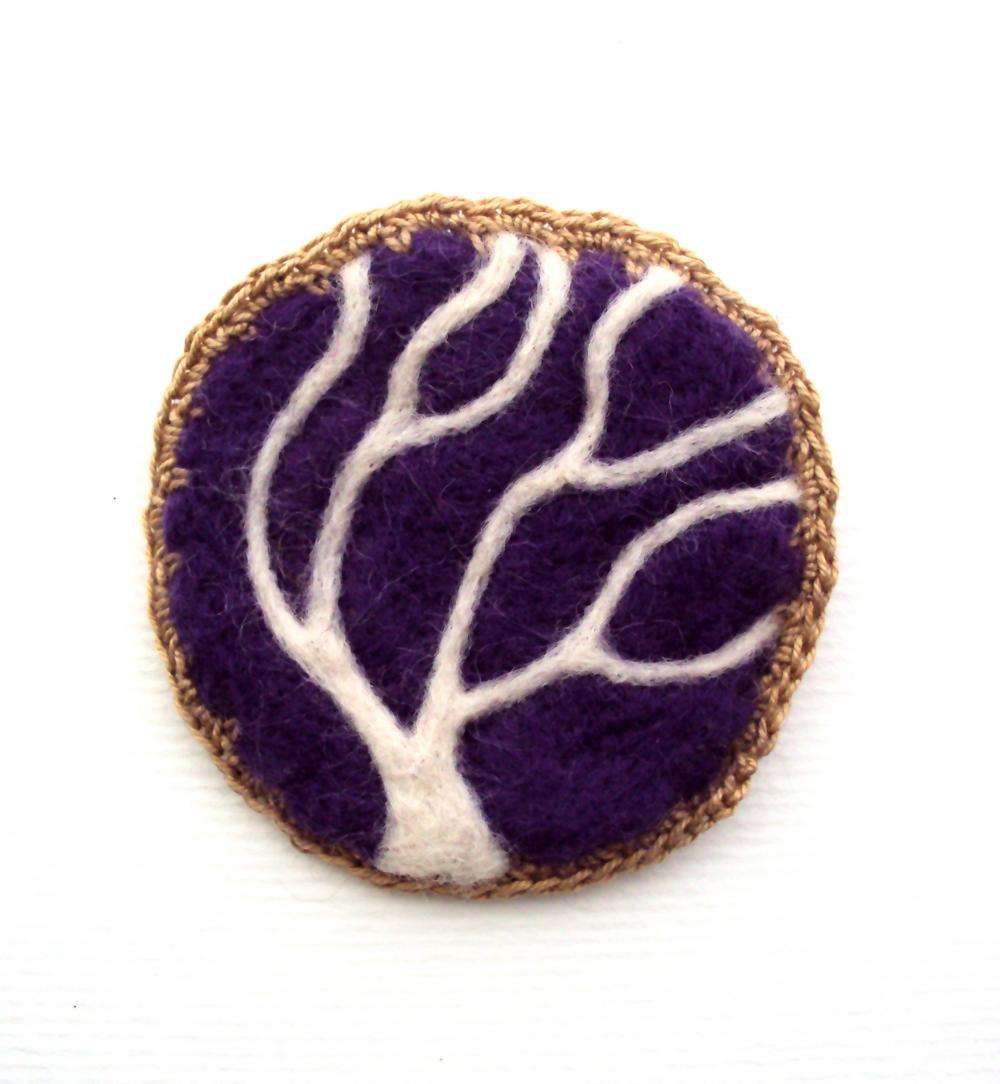 Felt brooch, purple tree pin, needle felted woodland badge, made to order.