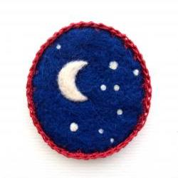 Felt brooch, ultramarine blue night sky, needle felted crescent .moon badge, made to order